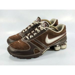Nike Shox Running Shoes Suede Leather Brown Pink